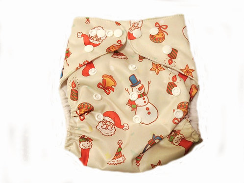 Pocket Diaper With Double Gussets - Christmas (tan)