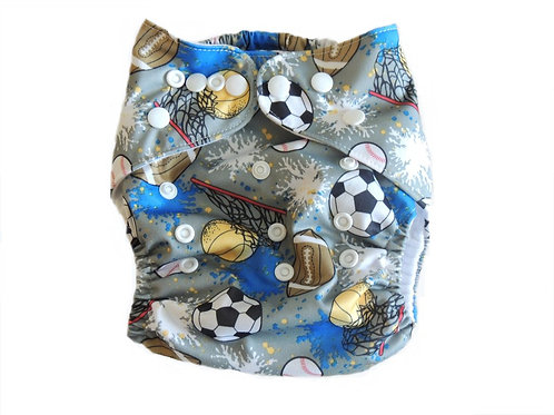 Pocket Diaper With Double Gussets - Sports Balls