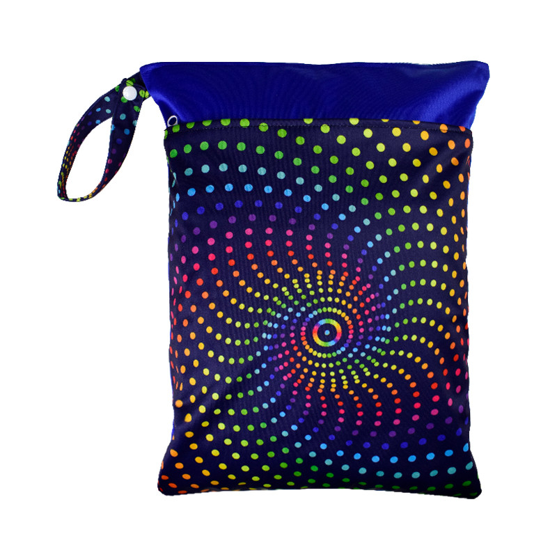 Rainbow Spiral Dots Wet Bag Front