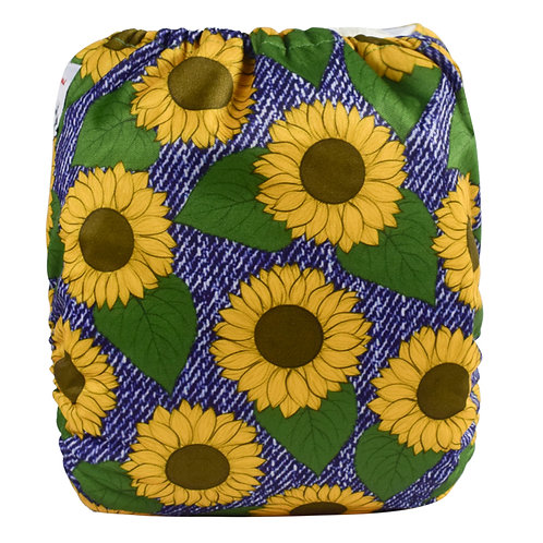 Round 14 Sunflowers on Denim