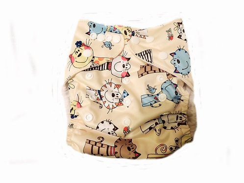 Pocket Diaper With Double Gussets - Beige Cats