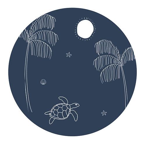 Muursticker cirkel schildpad donkerblauw