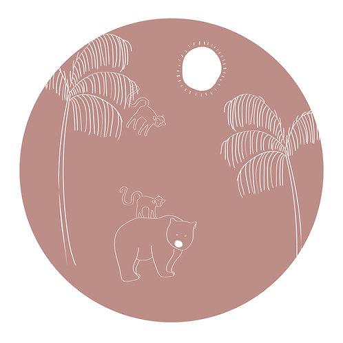 Muursticker cirkel beer roze