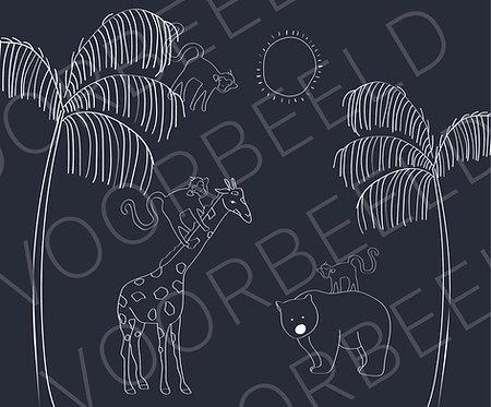 Behang giraffe beer donker blauw