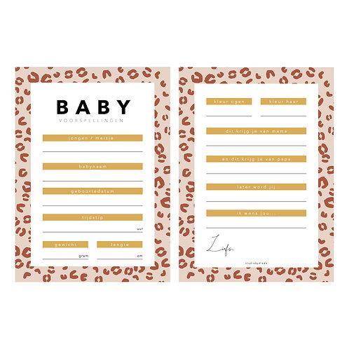 Babyshower voorspellingskaarten | Leopard oud roze | 10 stuks