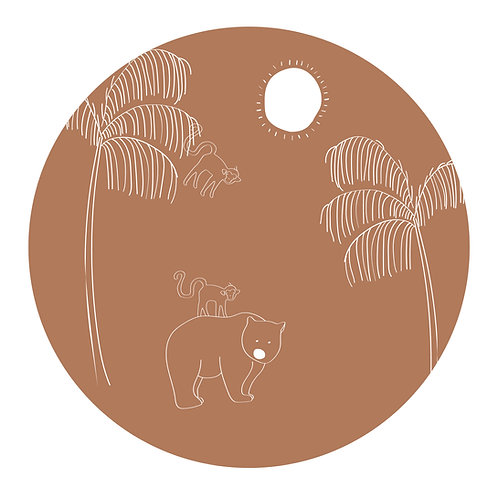 Muursticker cirkel beer brown