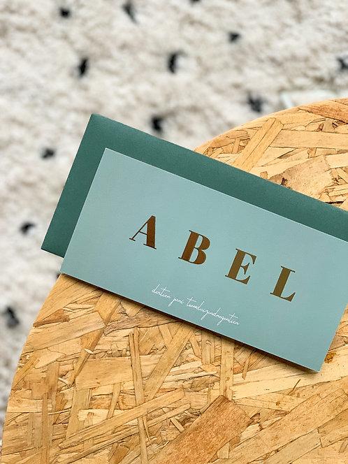 Geboortekaartje Abel mint