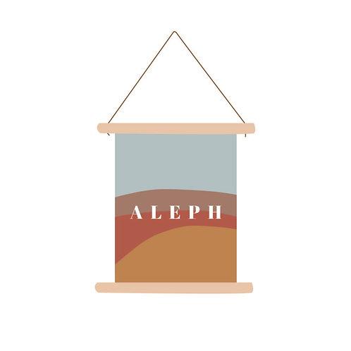 Textielposter Aleph