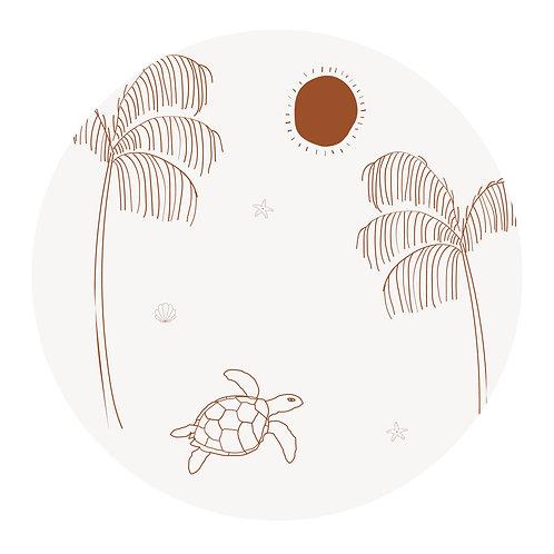 Muursticker cirkel schildpad naturel roest