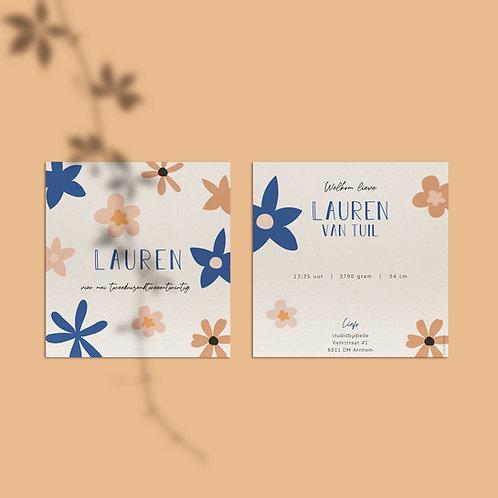 Geboortekaartje Lauren bloem