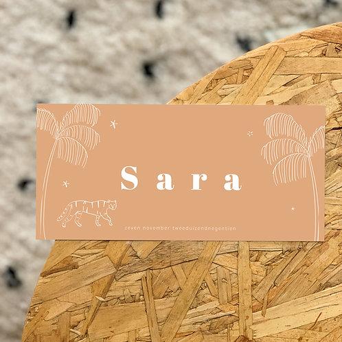 Geboortekaartje Sara warm beige