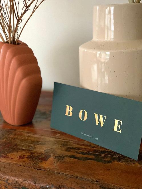 Geboortekaartje Bowe deep green