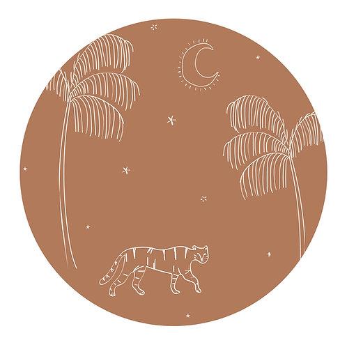 Muursticker cirkel tijger bruin