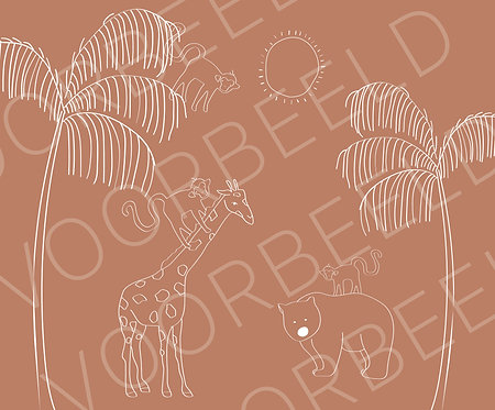Behang giraffe beer licht roest