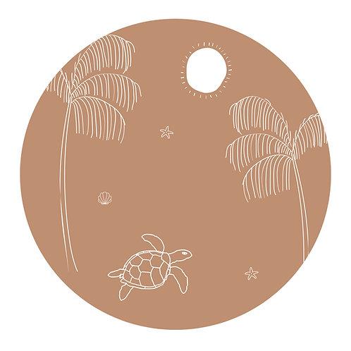 Muursticker cirkel schildpad licht roest