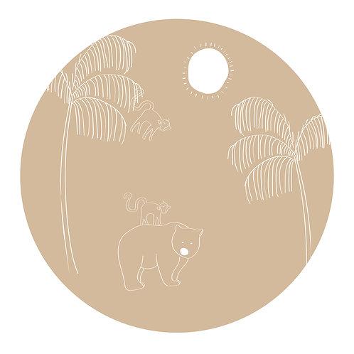 Muursticker cirkel beer beige