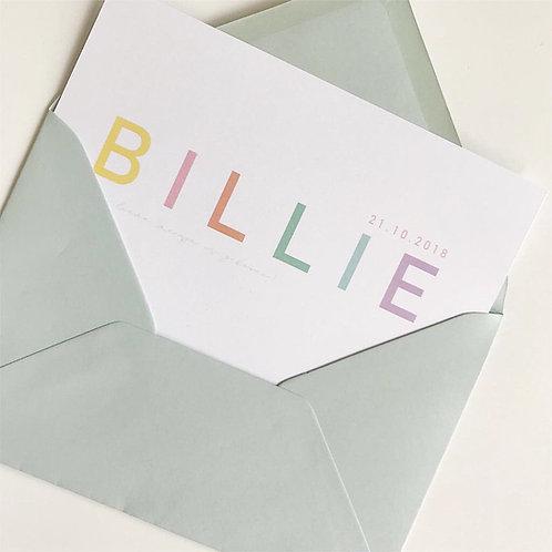 Geboortekaartje Billie