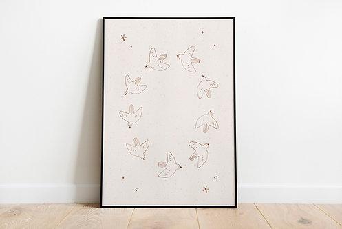 Poster birds 50 x 70 cm