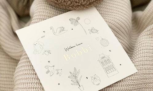 Geboortekaartje persoonlijke tekening