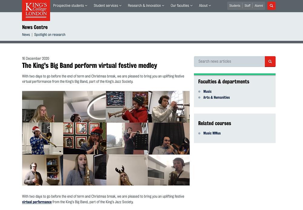 """The King's Big Band perform virtual festive medley"": Screenshot of article"