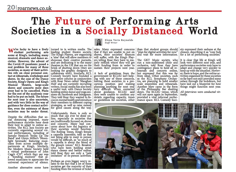 ROAR Newspaper: The Future of Performing Arts Societies in a Socially Distanced World
