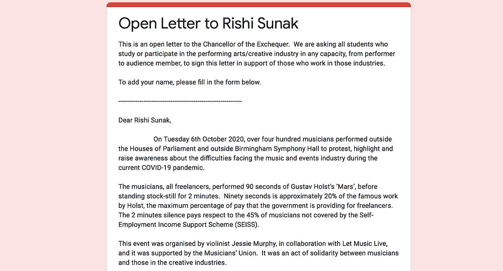 Open Letter to Rishi Sunak Screenshot