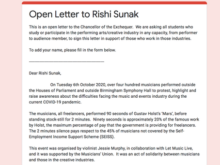 Open Letter in Support of the Arts