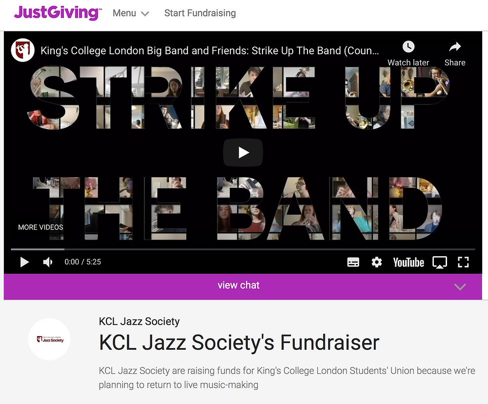 Screenshot of KCL Jazz Society JustGiving Page