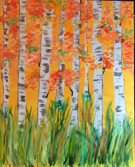 orange sky birch trees