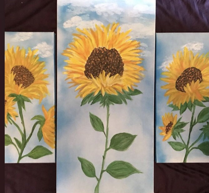 sunflower tryptch