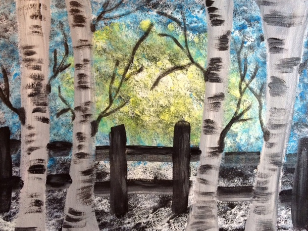 birch trees,acrylics and sponges
