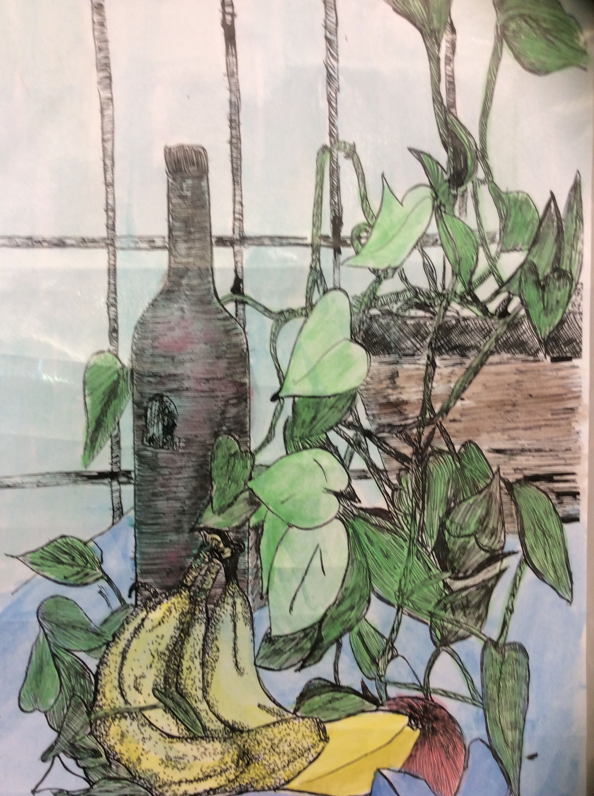 Still Life, Pen Ink & Watercolor