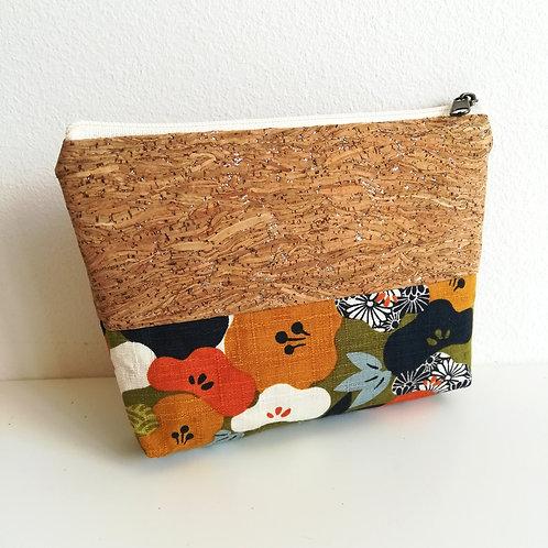 Pochette Mix - Coton japonais fleurs de prunier - Vert kaki