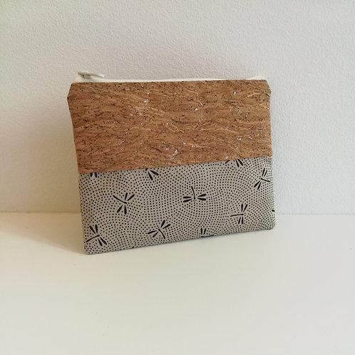 Pochette Mix Plate - Coton japonais Libellules Beige