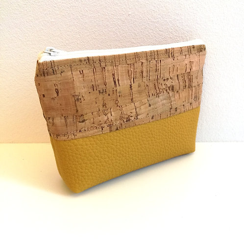 Pochette Mix - simili cuir jaune moutarde