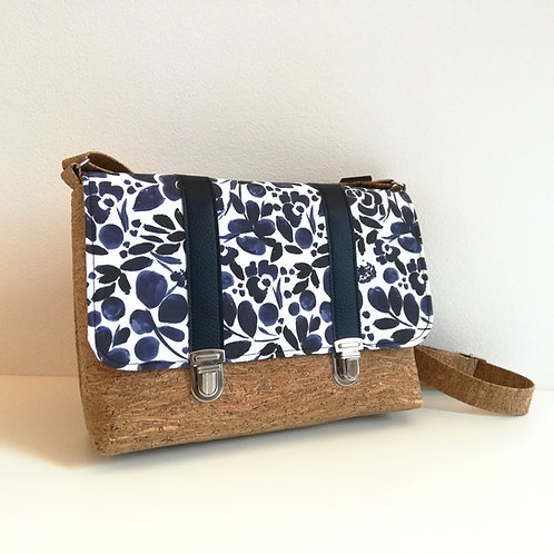Sac Licuala - Coton imprimé Aquarelle fleurs bleues