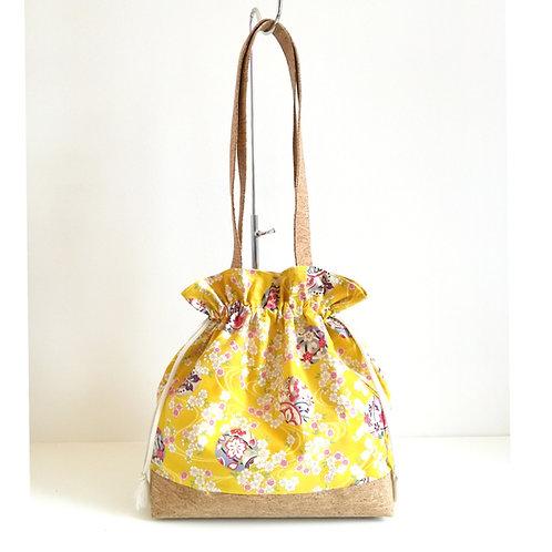 Tote bag Tulipe - Coton japonais fleuri jaune