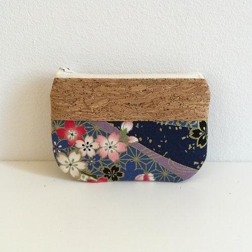 Pochette Pop - Coton japonais Sakura bleu marine et or