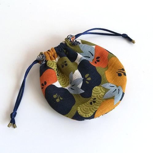 Bourse Piléa - Coton Japonais fleurs de prunier - Vert kaki