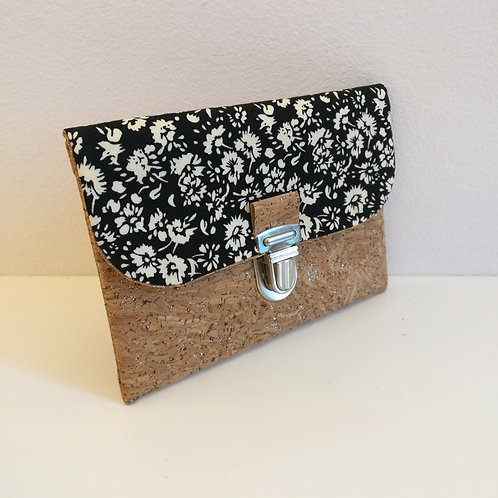 Pochette Paper - Coton noir fleuri