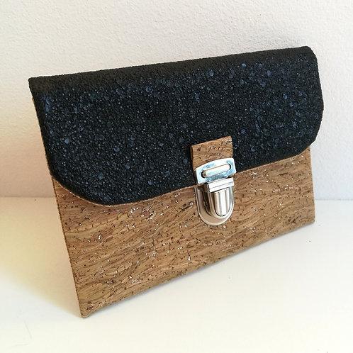 Pochette Paper - Simili granité pailleté noir