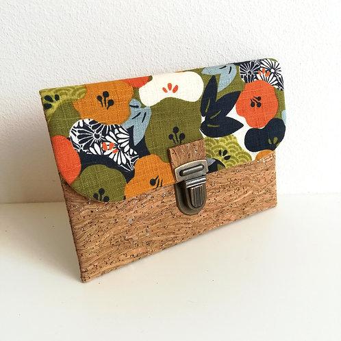 Pochette Paper - Fleurs de prunier - vert kaki