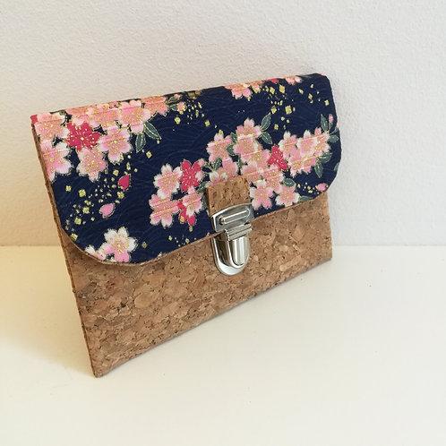 Pochette Paper - Coton japonais Sakura rose et bleu