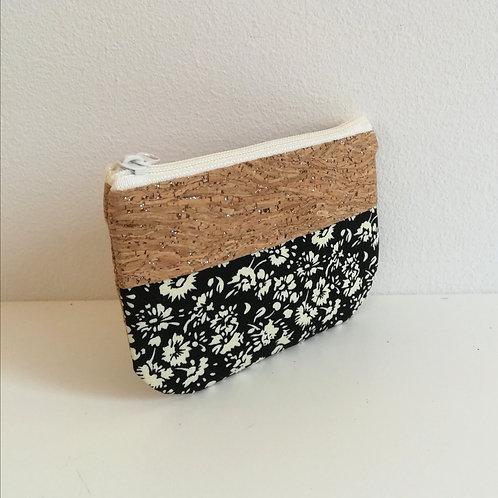 Pochette Pop - Coton noir fleuri
