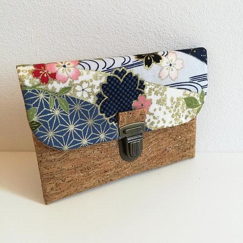Pochette Paper - Coton japonais Sakura Marine et or