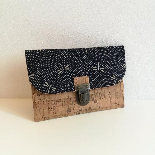 Pochette Paper - Coton japonais Libellules marine
