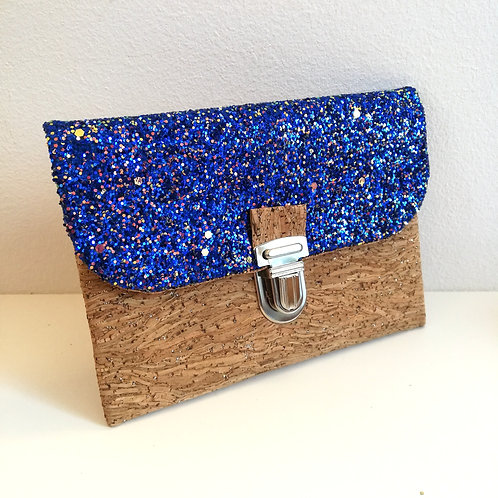 Pochette Paper - simili cuir pailleté bleu roi