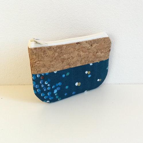 Pochette Pop - Coton confettis bleu paon