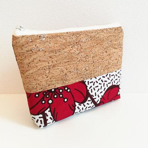 Pochette Mix - Coton Wax fleurs rouges