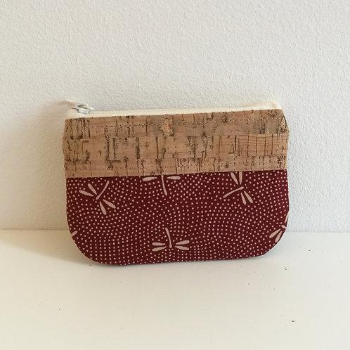 Pochette Pop - Coton japonais Libellules Bordeaux